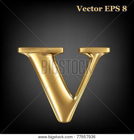 Golden shining metallic 3D symbol lowercase letter v, vector EPS8