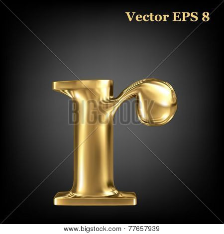 Golden shining metallic 3D symbol lowercase letter r, vector EPS8