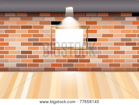 Empty Room With Blank Frame On Brick Wall In The Gallery.