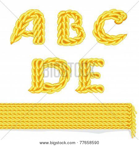 yellow knitted alphabet A - E