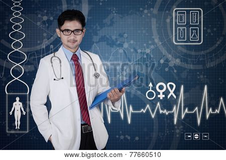 Attractive Male Doctor With Document