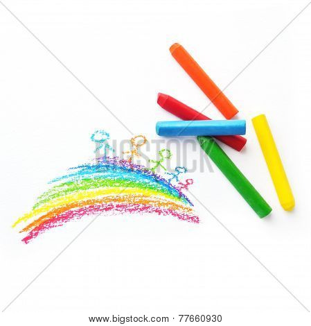 Colorful Crayons And Kid's Drawing With Rainbow