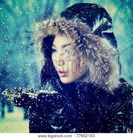 Girl Playing Cold Snow