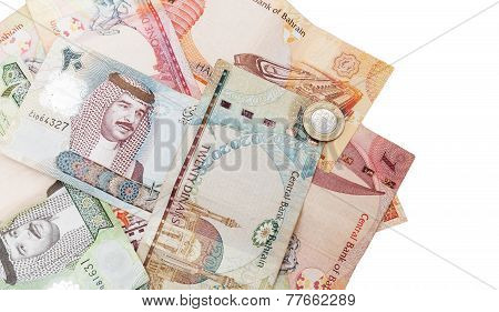 Modern Bahrain Dinars Banknotes Iisolated On White
