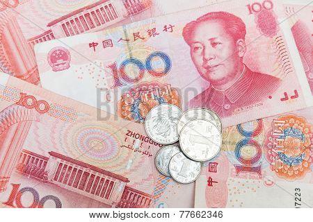 Chinese Yuan Renminbi Banknotes And Coins