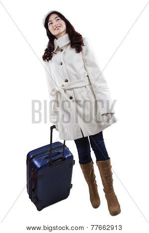Lovely Young Girl Carrying Luggage