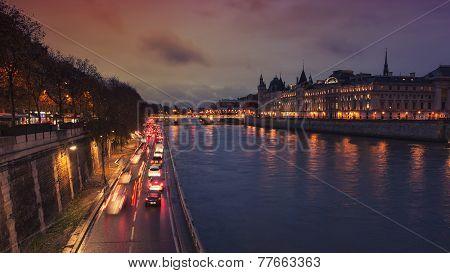 Night view of the Conciergerie, Paris
