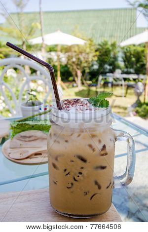 Cold Fresh Ice Capuchino Coffee