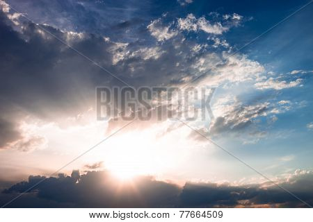 Cloudscape With Sun And Clouds