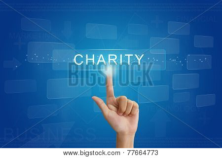 Hand Press On Charity Button On Touch Screen