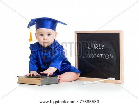 funny kid in academician clothes at chalkboard