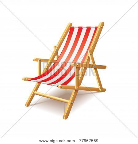Deck Chair Isolated On White Vector
