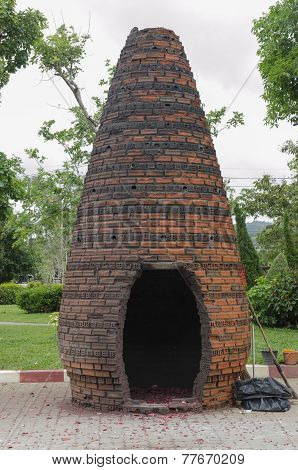 Oven for symbolic explosion of firecrackers in the monastery Chalong. Thailand