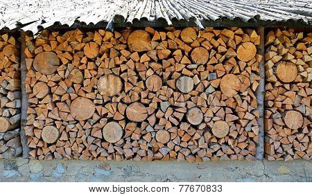 Old Firewood Shed And A Lot Of Chopped Logs