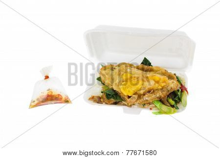 Kale Pork Fried Rice In Styrofoam Box