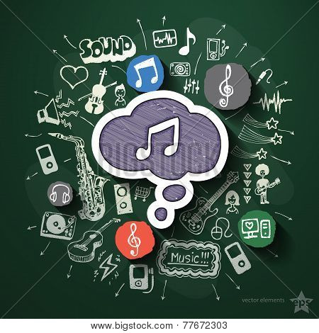 Music and entertainment collage with icons on blackboard