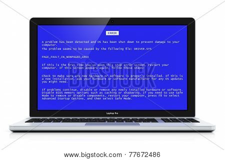 Laptop with OS blue critical error screen