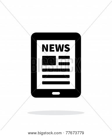 Tablet PC newspaper icon on white background.