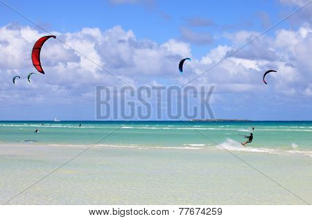 Kitesurfing on the coast of Cuba. Cayo Guillermo in Atlantic Oce