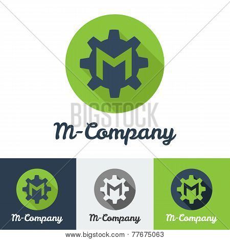 Vector flat minimalistic M letter logo
