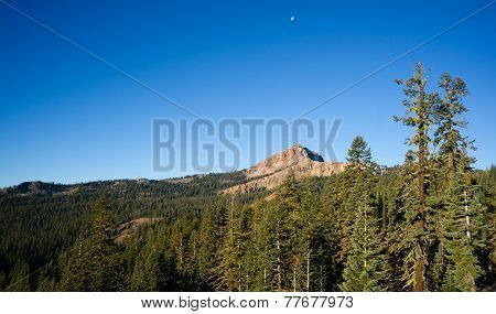 Vertical Composition Moonrise Brokeoff Mountain Lassen National Park California