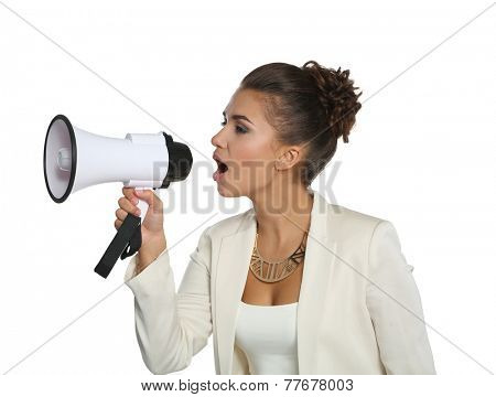Business woman with megaphone yelling and screaming isolated on white