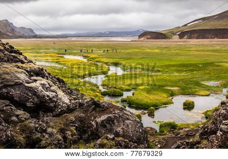 Valley Landmannalaugar In Iceland, Parking Tourists