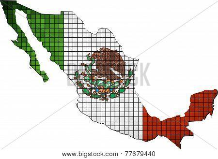 Mexico map grunge mosaic