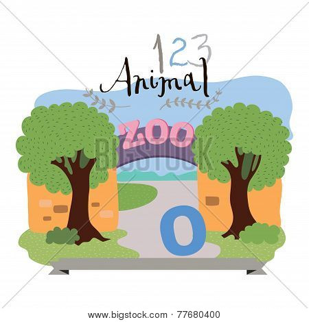 Children alphabet of animals and figures. Digit zero. Vector illustration.