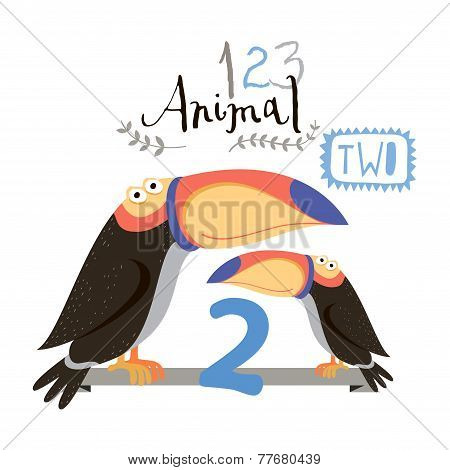 Children alphabet of animals and figures. Two figure. Vector illustration.