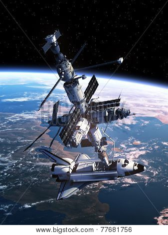 Space Shuttle Docking With Space Station