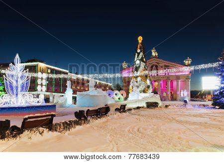 The Main City Square With New Year's Illumination.