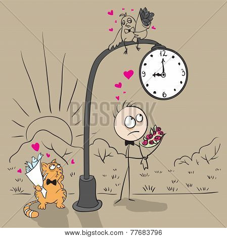 The guy near post with a clock waiting for date with a girl