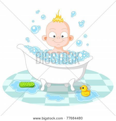 Happy smiling boy in a bath