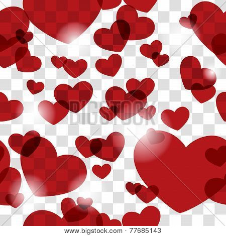 Seamless Pattern with Hearts and Chessboard