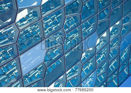 The Structure Of The Glass Wall, Harpa Concert Hall In Reykjavik