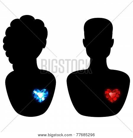 Silhouette of a Man and a Woman with Different Diamond Hearts