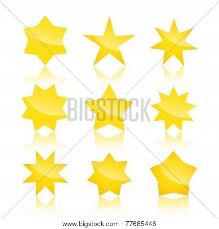 Vector set of star icons isolated on white background
