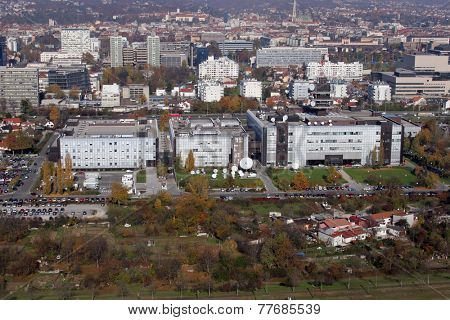 ZAGREB, CROATIA - OCTOBER 14: Croatian National Radio and Television Building of and the city of Zagreb in the background on October 14, 2007.