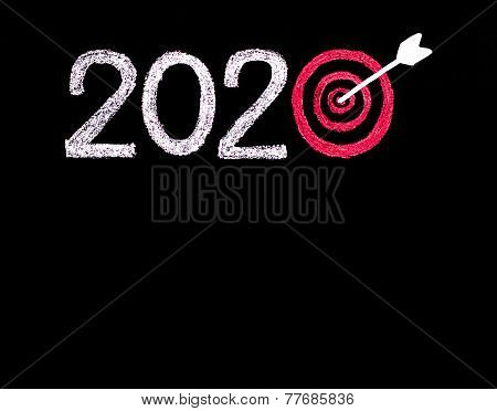 Conceptual Image Of Year 2020, With Number Zero In Shape Of A Target And Arrow In The Center