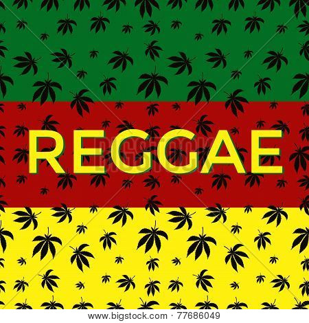 Postcard with silhouettes of leaves of marijuana and Reggae label.