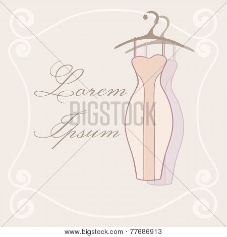 Dresses On Hangers. Invitation Tamplate