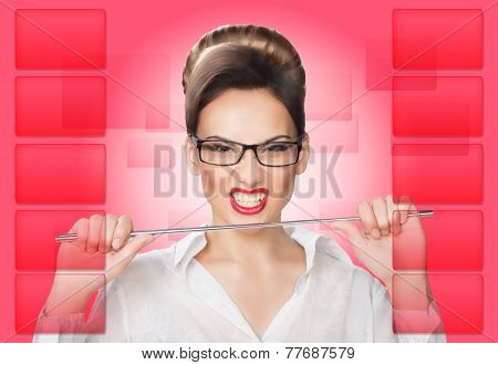 aggressive woman with a pointer. concept
