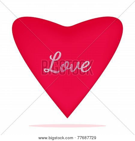 Vector illustration of a pink heart closeup with the inscription love