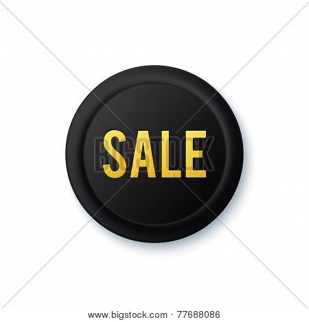 Black round sale sticker with golden letters.