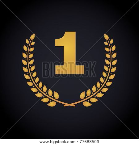 Number one in laurel wreaths frame.