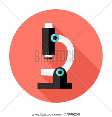 Microscope Flat Circle Icon