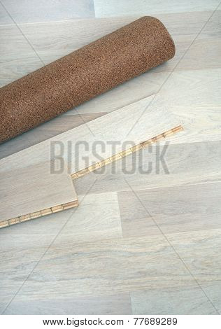 New oak parquet and soundproof cork substrate