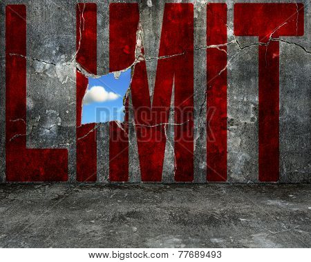 Red Limit Word On Grey Grunge Concrete Wall