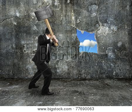 Businessman Hold Sledgehammer Cracking Big Hole Discovered Natural Sky